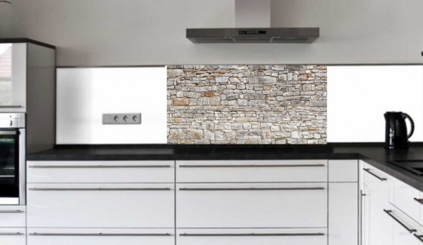 """Küchenrückwand Glasbild """"Mauer grau"""" F"""