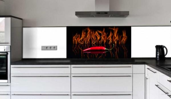 """Rückwand Glasbild """"Peperoni in Flammen"""" E"""