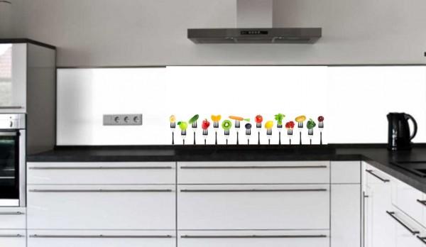 """Küchenrückwand Glasbild """"Obst und Gemüse auf der Gabel"""" E"""