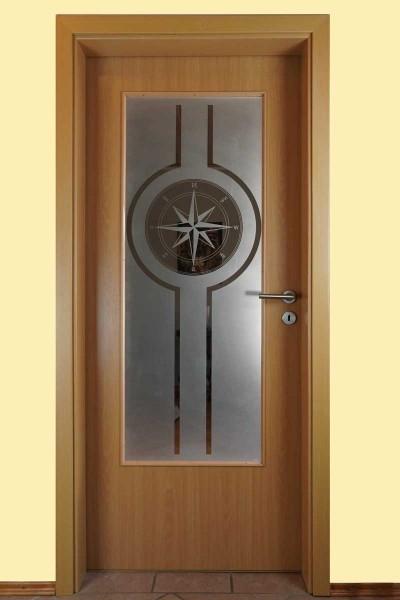 "Glaseinsatz Motiv ""Kompass eckig"""
