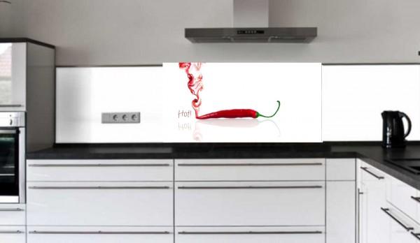 "Küchenrückwand Glasbild ""dampfende Peperoni"" E"